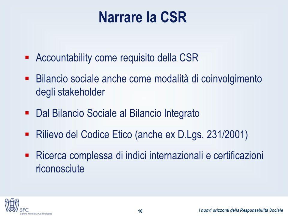 I nuovi orizzonti della Responsabilità Sociale 16 Narrare la CSR Accountability come requisito della CSR Bilancio sociale anche come modalità di coinv