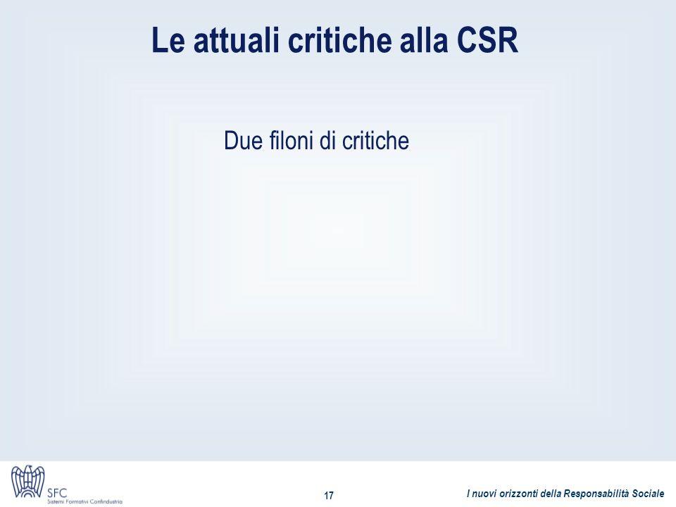 I nuovi orizzonti della Responsabilità Sociale 17 Le attuali critiche alla CSR Due filoni di critiche