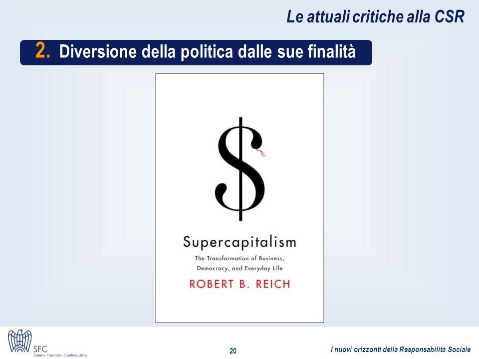 I nuovi orizzonti della Responsabilità Sociale 20 Le attuali critiche alla CSR 2. Diversione della politica dalle sue finalità
