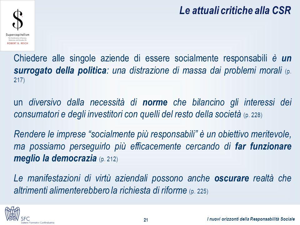 I nuovi orizzonti della Responsabilità Sociale 21 Le attuali critiche alla CSR Chiedere alle singole aziende di essere socialmente responsabili è un s
