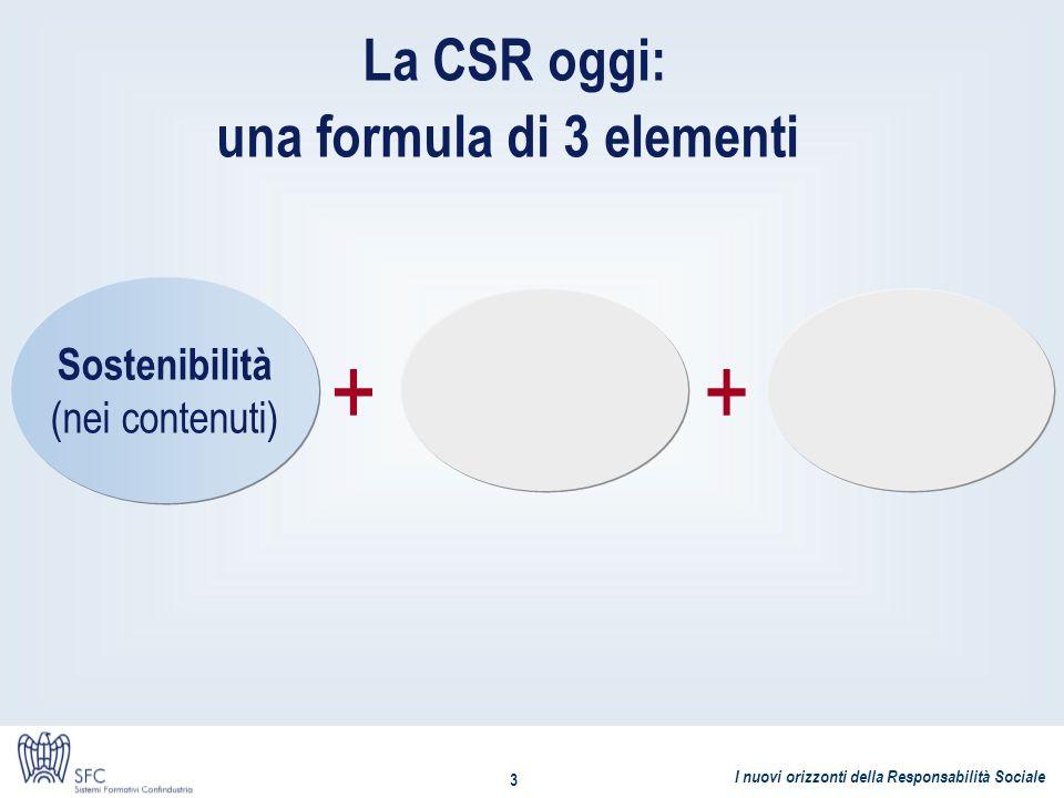 I nuovi orizzonti della Responsabilità Sociale 3 La CSR oggi: una formula di 3 elementi Sostenibilità (nei contenuti) ++