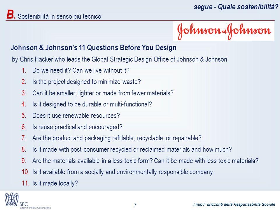 I nuovi orizzonti della Responsabilità Sociale 7 segue - Quale sostenibilità? Johnson & Johnsons 11 Questions Before You Design by Chris Hacker who le