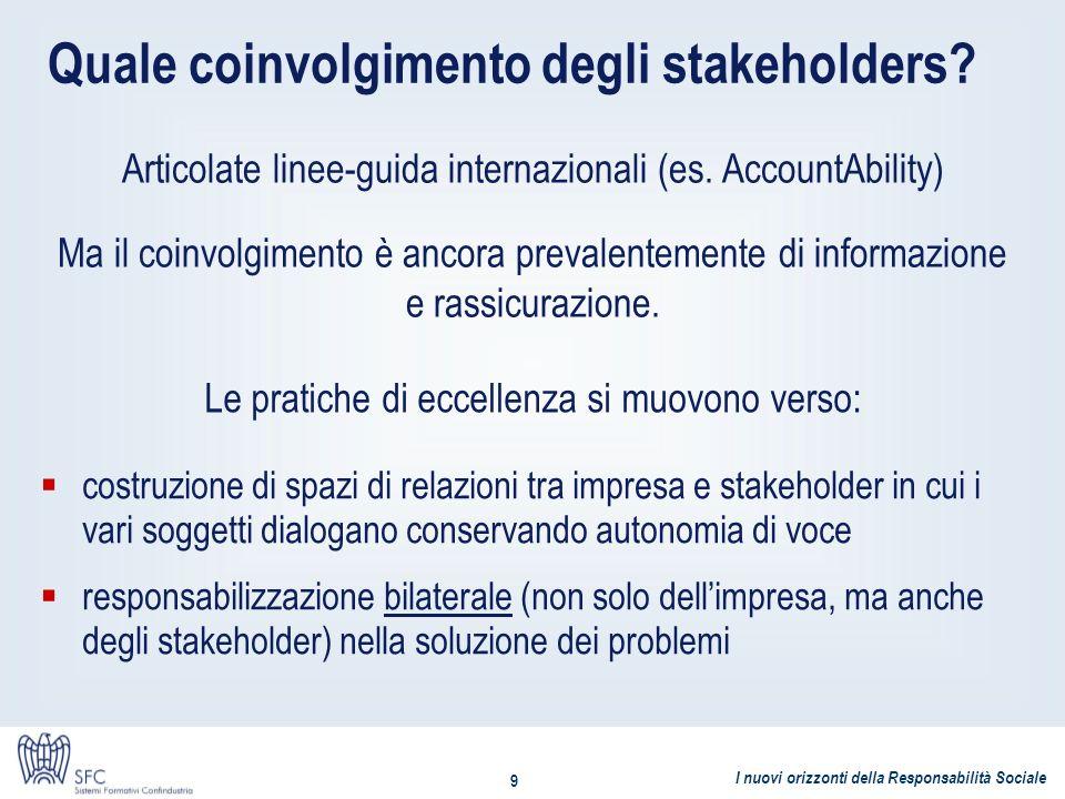 I nuovi orizzonti della Responsabilità Sociale 9 Quale coinvolgimento degli stakeholders? Articolate linee-guida internazionali (es. AccountAbility) M