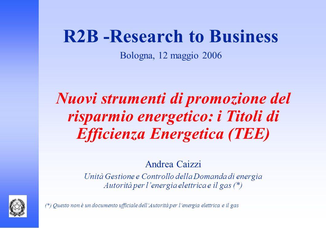 R2B -Research to Business Bologna, 12 maggio 2006 Nuovi strumenti di promozione del risparmio energetico: i Titoli di Efficienza Energetica (TEE) Andr