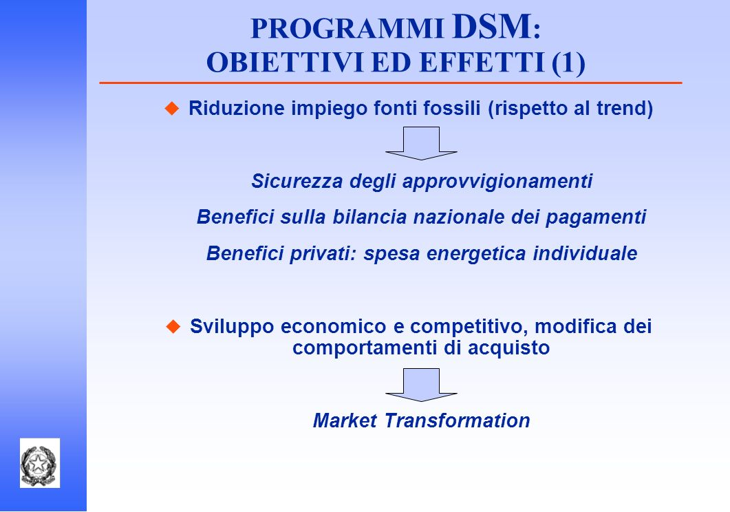 Riduzione impiego fonti fossili (rispetto al trend) Sicurezza degli approvvigionamenti Benefici sulla bilancia nazionale dei pagamenti Benefici privat