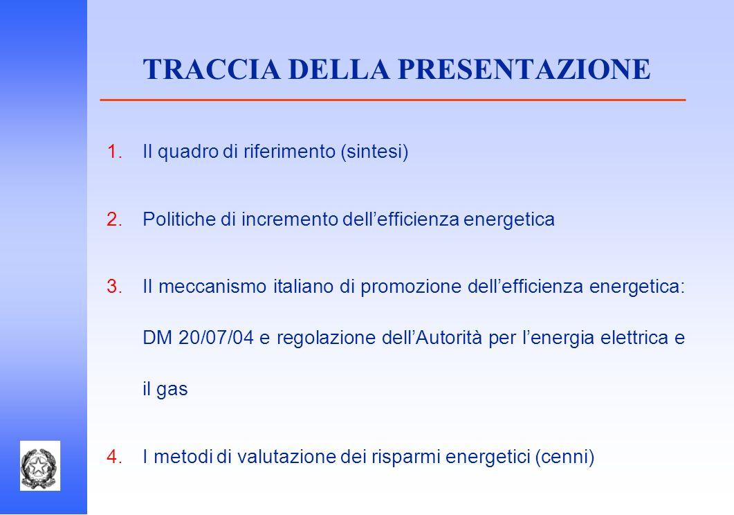 Il quadro di riferimento (sintesi) Politiche di incremento dellefficienza energetica Il meccanismo italiano di promozione dellefficienza energetica: D