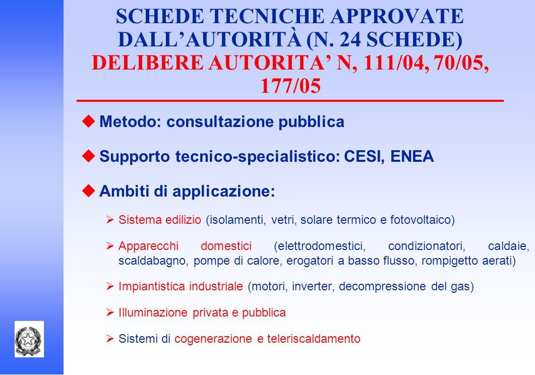 SCHEDE TECNICHE APPROVATE DALLAUTORITÀ (N. 24 SCHEDE) DELIBERE AUTORITA N, 111/04, 70/05, 177/05 Metodo: consultazione pubblica Supporto tecnico-speci