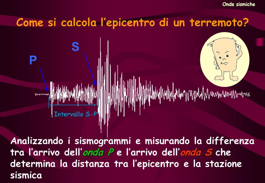 S P Come si calcola lepicentro di un terremoto? onda Ponda S Analizzando i sismogrammi e misurando la differenza tra larrivo dellonda P e larrivo dell