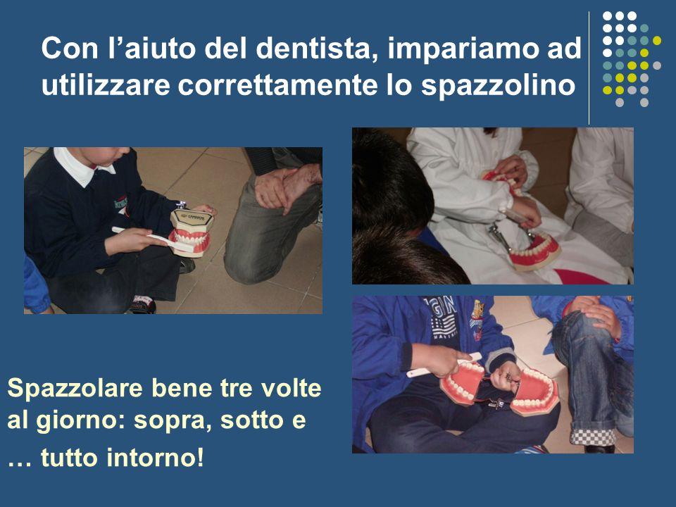 Con laiuto del dentista, impariamo ad utilizzare correttamente lo spazzolino Spazzolare bene tre volte al giorno: sopra, sotto e … tutto intorno!