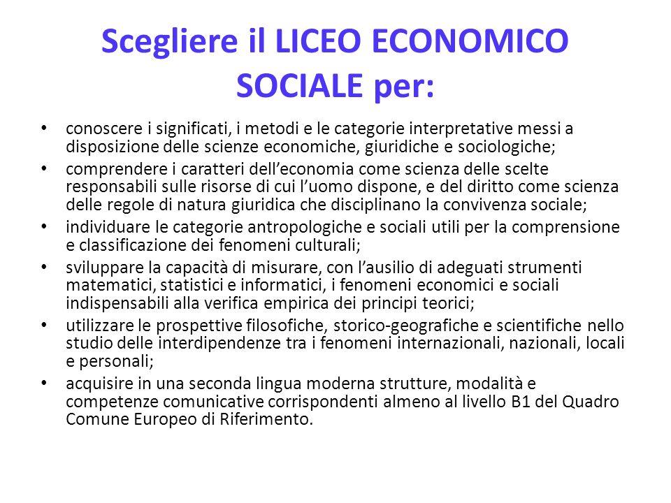 Scegliere il LICEO ECONOMICO SOCIALE per: conoscere i significati, i metodi e le categorie interpretative messi a disposizione delle scienze economich