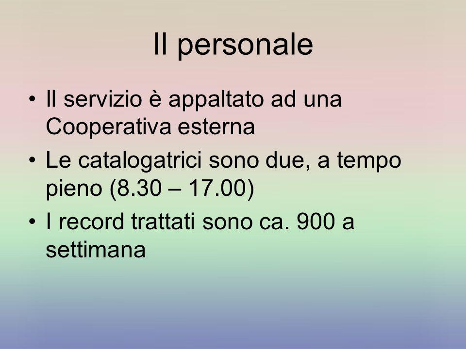 Il personale Il servizio è appaltato ad una Cooperativa esterna Le catalogatrici sono due, a tempo pieno (8.30 – 17.00) I record trattati sono ca.