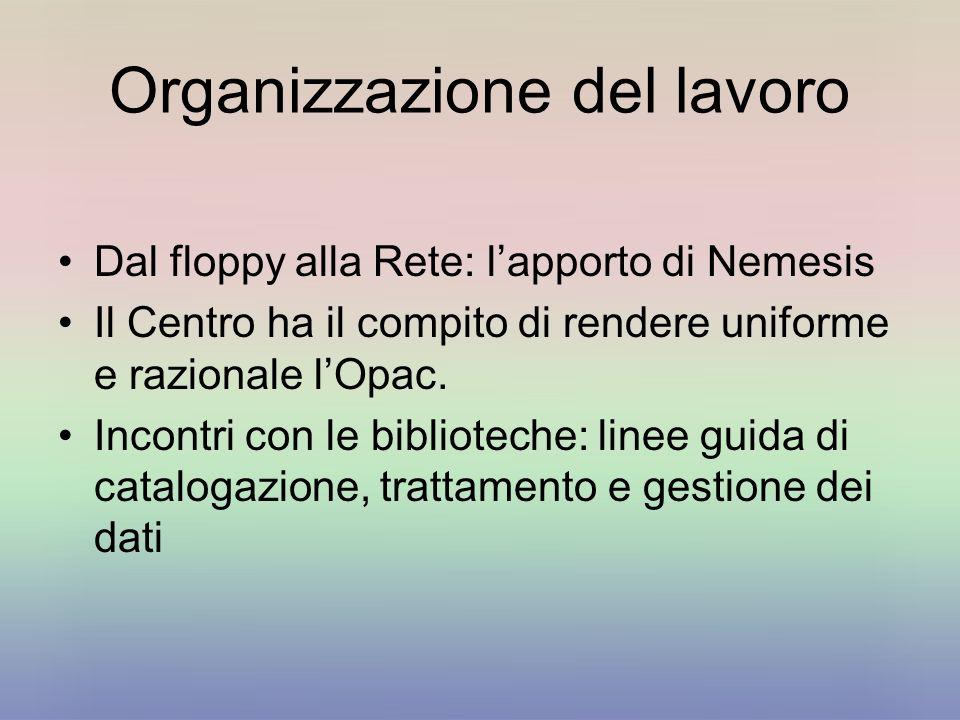 Organizzazione del lavoro Dal floppy alla Rete: lapporto di Nemesis Il Centro ha il compito di rendere uniforme e razionale lOpac. Incontri con le bib