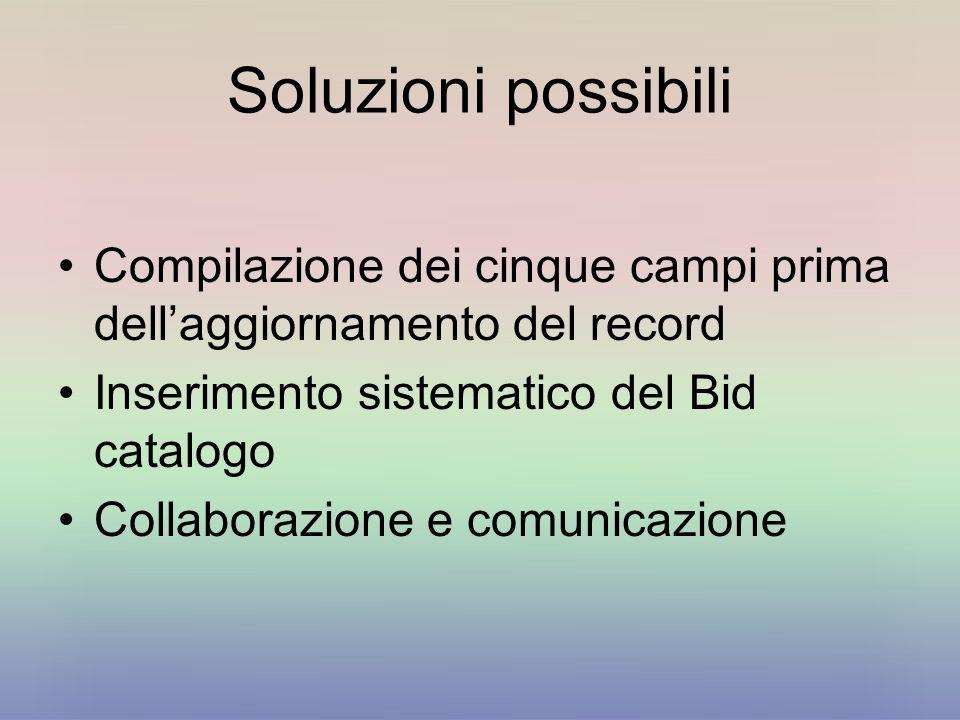 Soluzioni possibili Compilazione dei cinque campi prima dellaggiornamento del record Inserimento sistematico del Bid catalogo Collaborazione e comunic