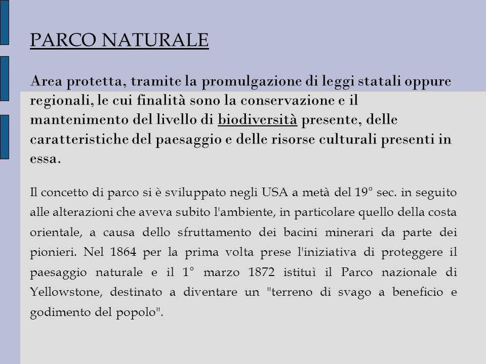 PARCO NATURALE Area protetta, tramite la promulgazione di leggi statali oppure regionali, le cui finalità sono la conservazione e il mantenimento del