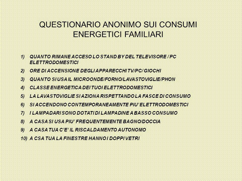 QUESTIONARIO ANONIMO SUI CONSUMI ENERGETICI FAMILIARI 1)QUANTO RIMANE ACCESO LO STAND BY DEL TELEVISORE / PC ELETTRODOMESTICI 2)ORE DI ACCENSIONE DEGL