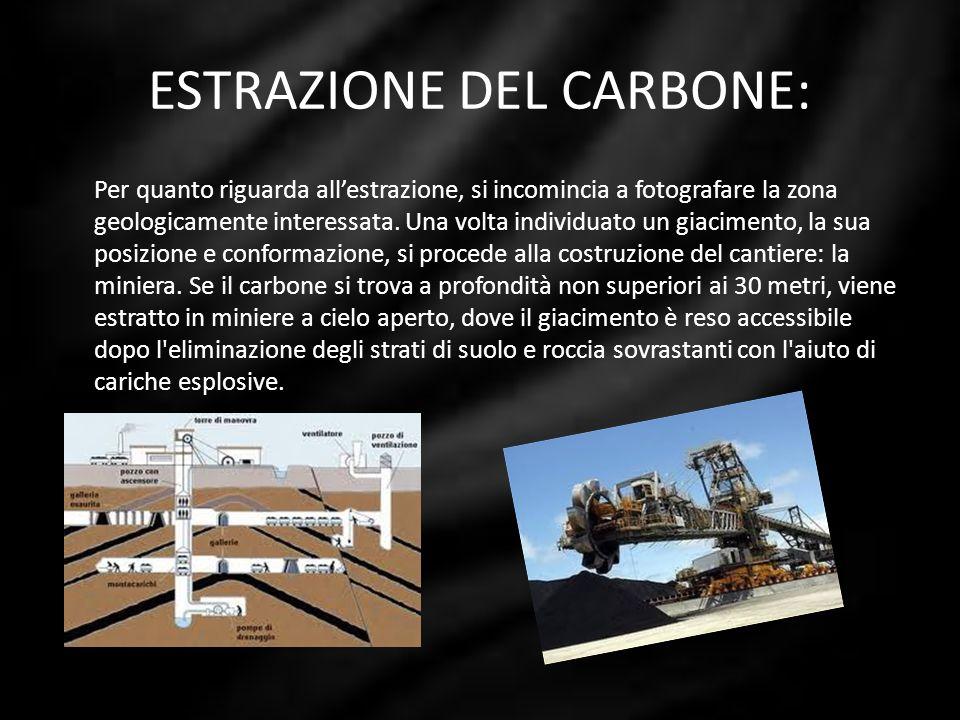 ESTRAZIONE DEL CARBONE: Per quanto riguarda allestrazione, si incomincia a fotografare la zona geologicamente interessata. Una volta individuato un gi