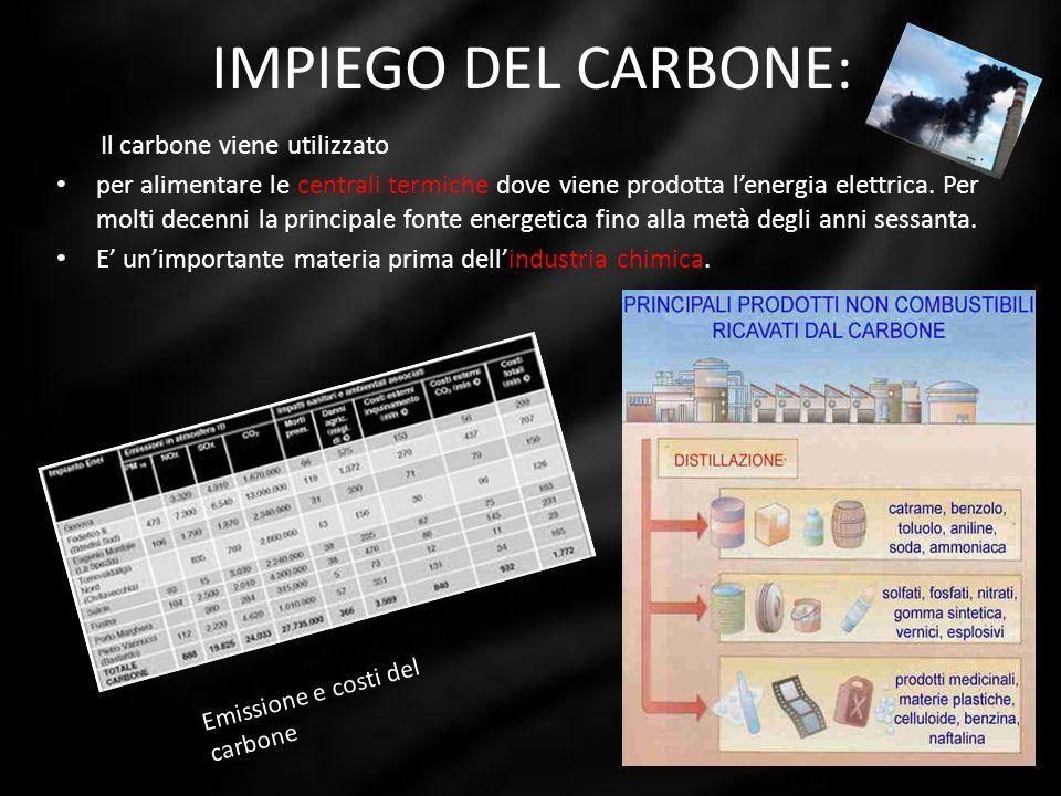 IMPIEGO DEL CARBONE: Il carbone viene utilizzato per alimentare le centrali termiche dove viene prodotta lenergia elettrica. Per molti decenni la prin