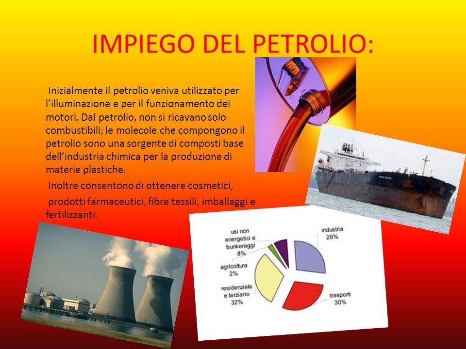 IMPIEGO DEL PETROLIO: Inizialmente il petrolio veniva utilizzato per lilluminazione e per il funzionamento dei motori. Dal petrolio, non si ricavano s