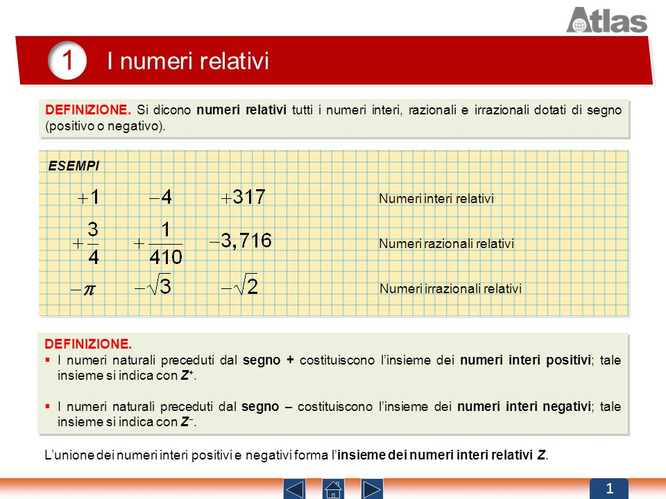 DEFINIZIONE. Si dicono numeri relativi tutti i numeri interi, razionali e irrazionali dotati di segno (positivo o negativo). 1 I numeri relativi 1 ESE
