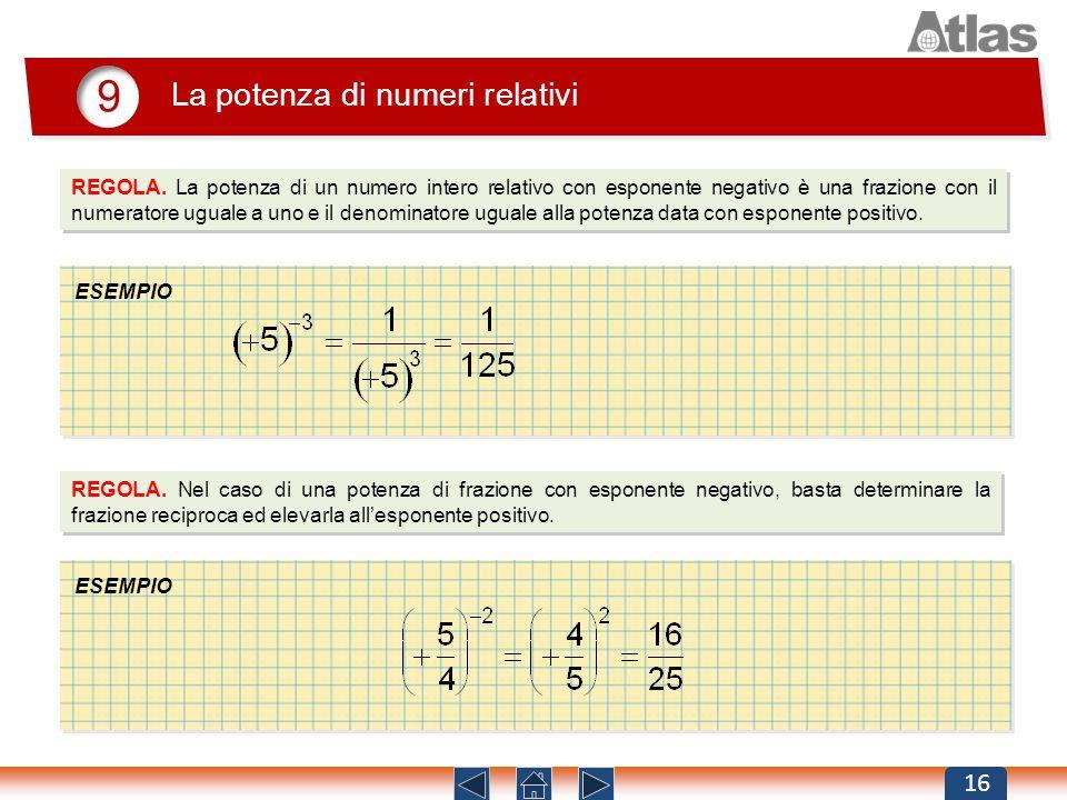 9 La potenza di numeri relativi 16 REGOLA. La potenza di un numero intero relativo con esponente negativo è una frazione con il numeratore uguale a un