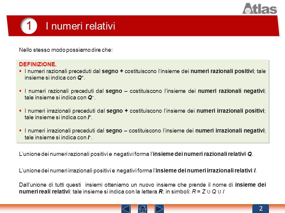 1 I numeri relativi 2 DEFINIZIONE. I numeri razionali preceduti dal segno + costituiscono linsieme dei numeri razionali positivi; tale insieme si indi