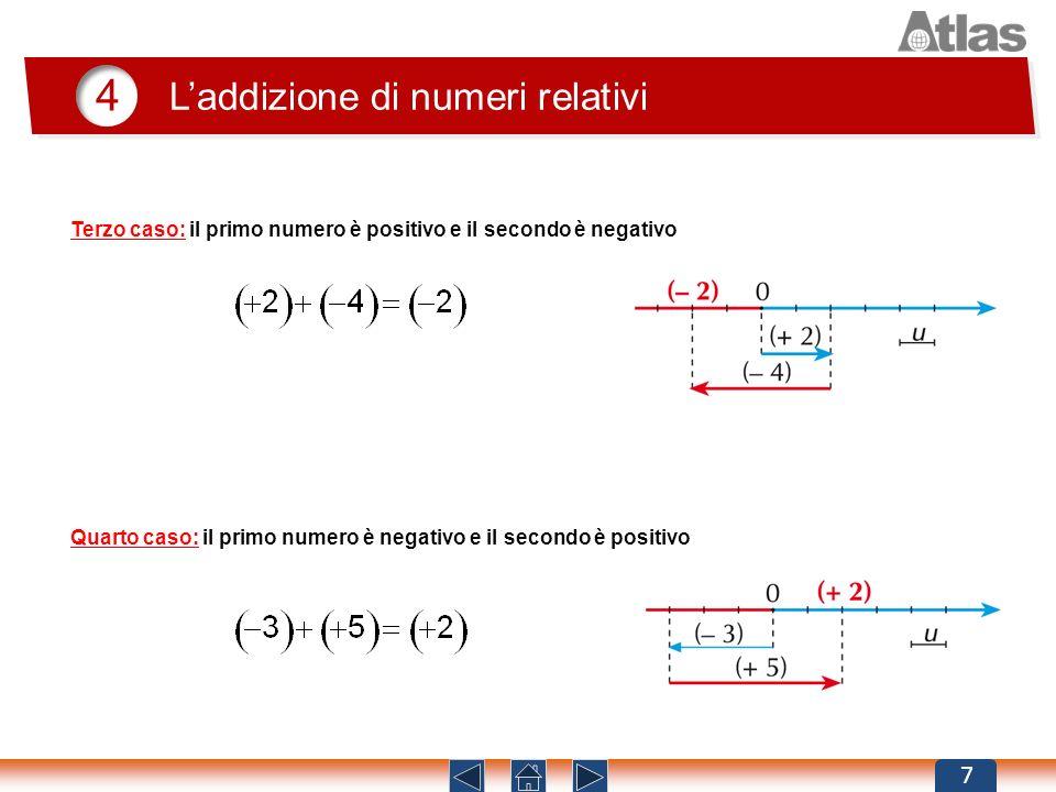 4 Laddizione di numeri relativi 7 Terzo caso: il primo numero è positivo e il secondo è negativo Quarto caso: il primo numero è negativo e il secondo