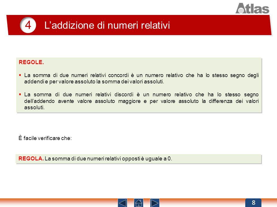 4 Laddizione di numeri relativi 8 REGOLE. La somma di due numeri relativi concordi è un numero relativo che ha lo stesso segno degli addendi e per val