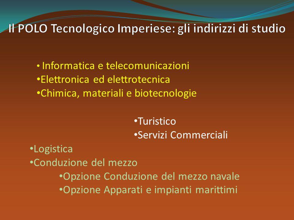 Turistico Servizi Commerciali Informatica e telecomunicazioni Elettronica ed elettrotecnica Chimica, materiali e biotecnologie Logistica Conduzione de