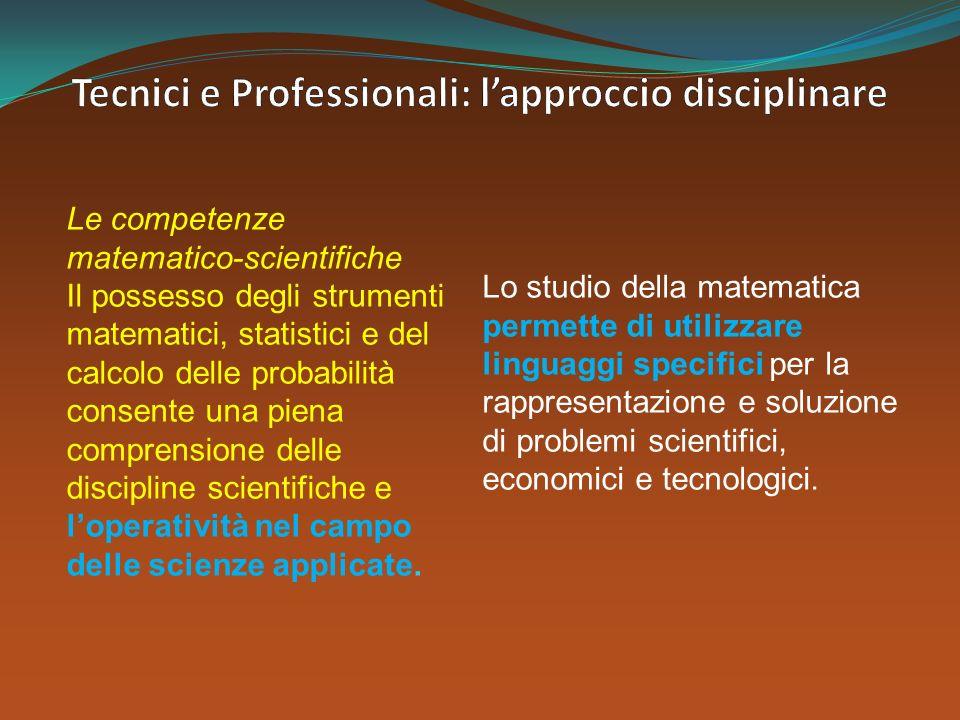 Le competenze matematico-scientifiche Il possesso degli strumenti matematici, statistici e del calcolo delle probabilità consente una piena comprensio