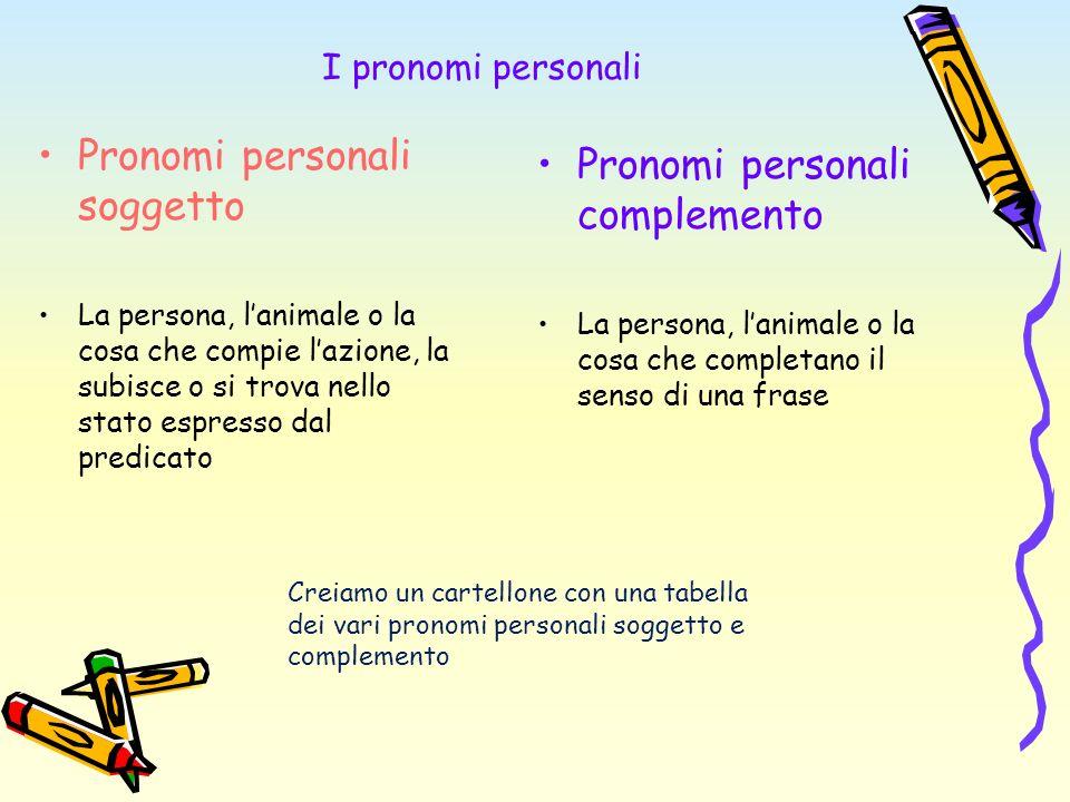 I pronomi personali Pronomi personali soggetto La persona, lanimale o la cosa che compie lazione, la subisce o si trova nello stato espresso dal predi
