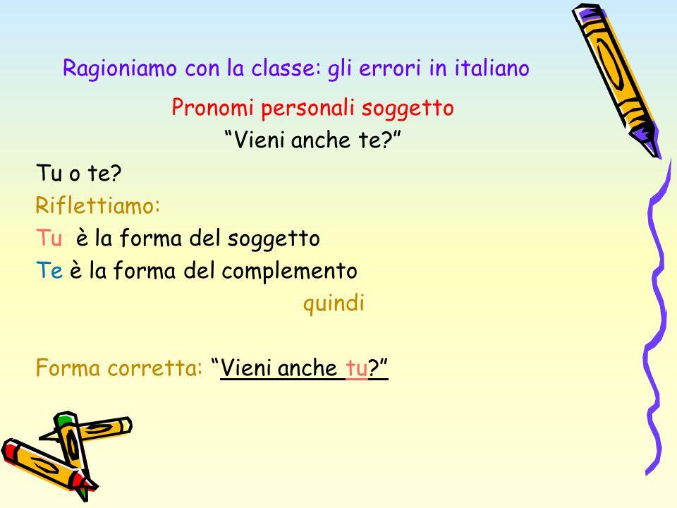 Ragioniamo con la classe: gli errori in italiano Pronomi personali soggetto Vieni anche te? Tu o te? Riflettiamo: Tu è la forma del soggetto Te è la f