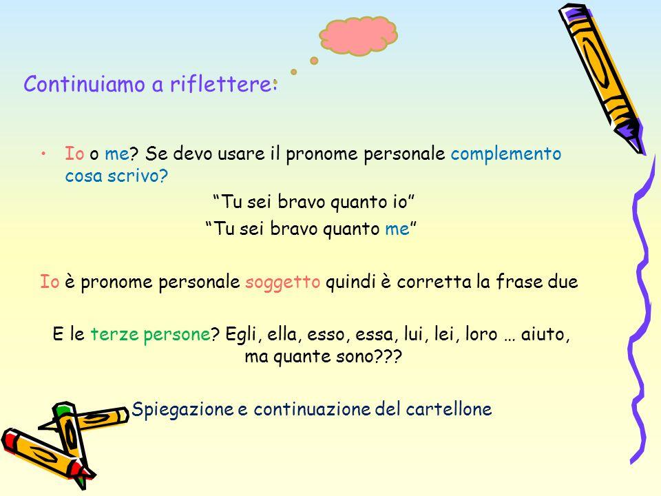 Continuiamo a riflettere: Io o me? Se devo usare il pronome personale complemento cosa scrivo? Tu sei bravo quanto io Tu sei bravo quanto me Io è pron