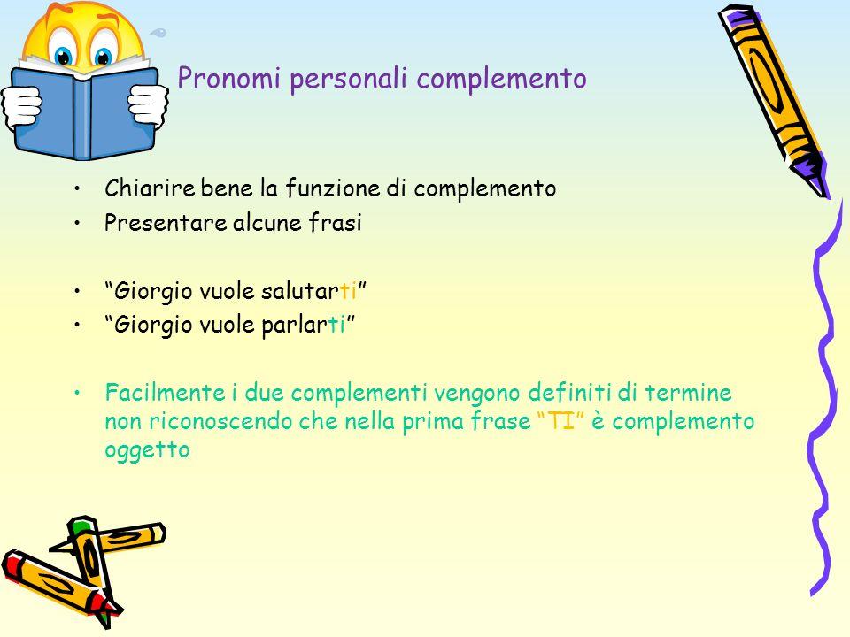 Pronomi personali complemento Chiarire bene la funzione di complemento Presentare alcune frasi Giorgio vuole salutarti Giorgio vuole parlarti Facilmen