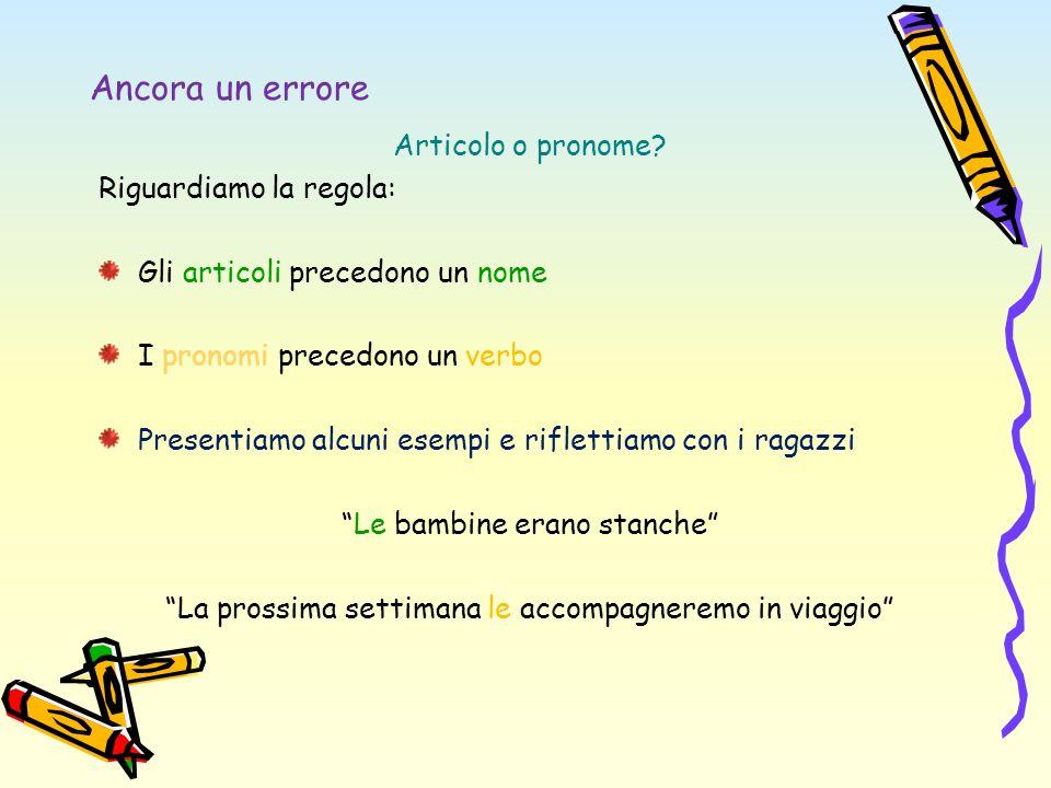 Ancora un errore Articolo o pronome? Riguardiamo la regola: Gli articoli precedono un nome I pronomi precedono un verbo Presentiamo alcuni esempi e ri