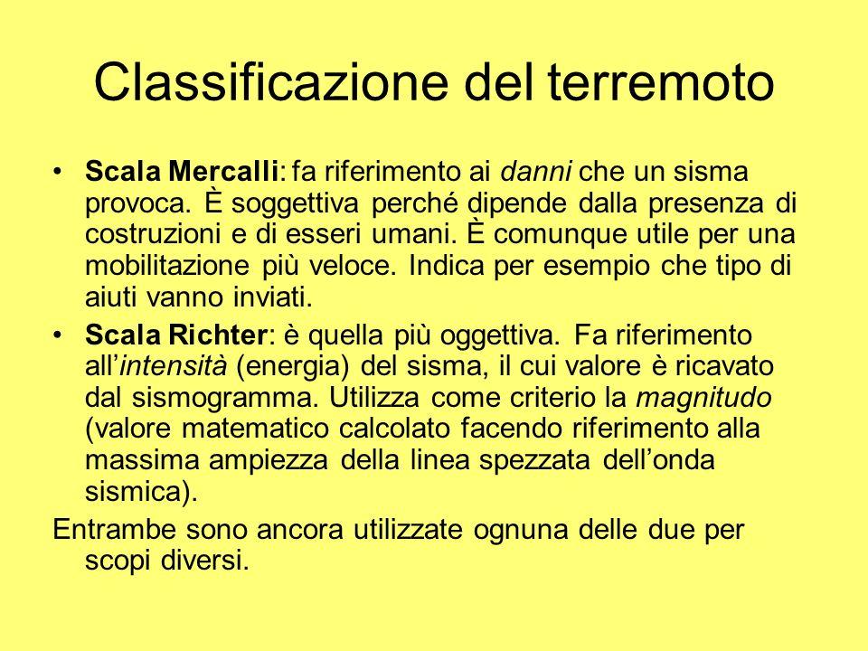 Classificazione del terremoto Scala Mercalli: fa riferimento ai danni che un sisma provoca. È soggettiva perché dipende dalla presenza di costruzioni