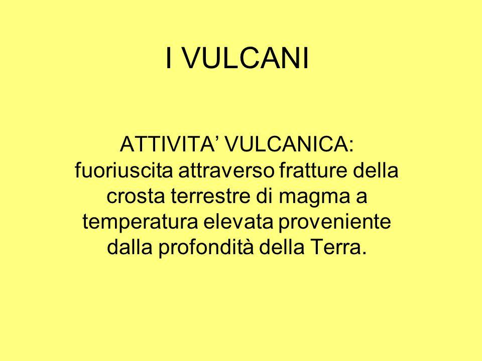 I VULCANI ATTIVITA VULCANICA: fuoriuscita attraverso fratture della crosta terrestre di magma a temperatura elevata proveniente dalla profondità della