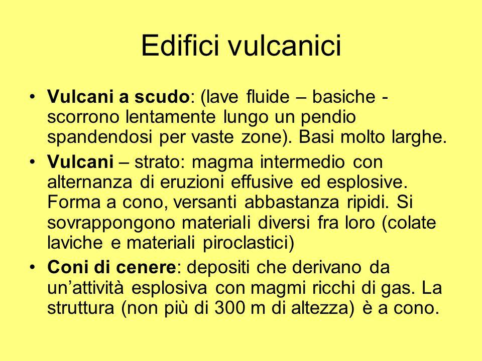 Edifici vulcanici Vulcani a scudo: (lave fluide – basiche - scorrono lentamente lungo un pendio spandendosi per vaste zone). Basi molto larghe. Vulcan