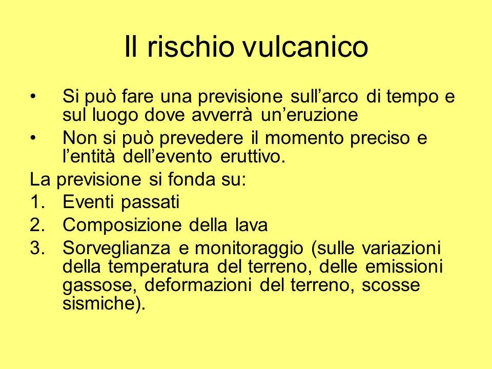 Il rischio vulcanico Si può fare una previsione sullarco di tempo e sul luogo dove avverrà uneruzione Non si può prevedere il momento preciso e lentit