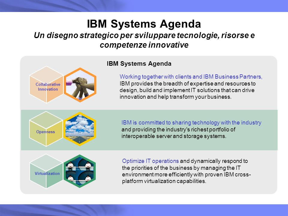 IBM Systems Agenda Collaborative Innovation Working together with clients and IBM Business Partners, IBM provides the breadth of expertise and resourc