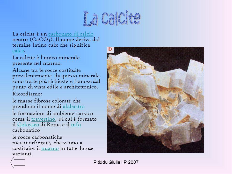 Pitiddu Giulia I P 2007 Il quarzo ha la forma tipica allungata a prisma ed è costituito da silicio e ossigeno. Principali tipi di varietà di quarzo Ca