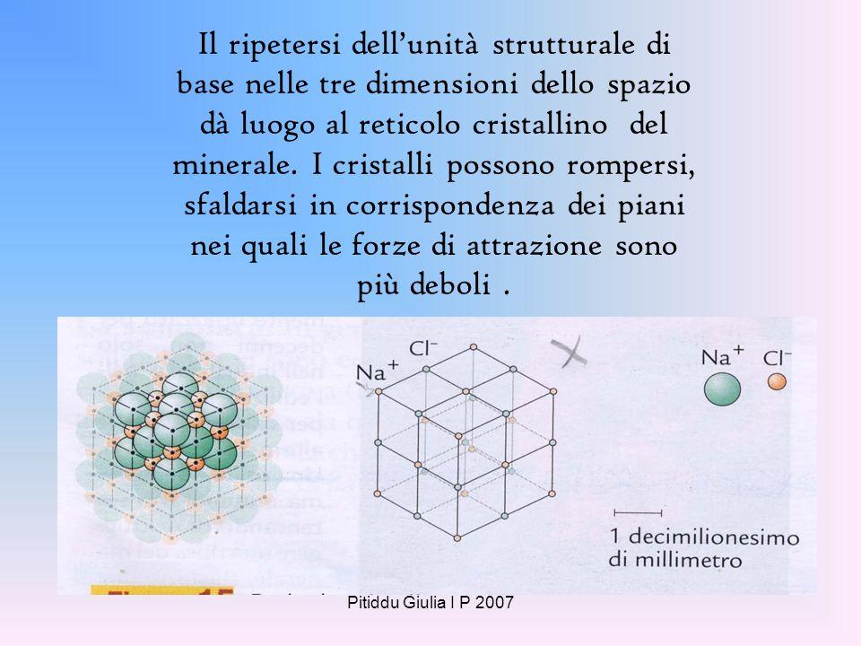 Pitiddu Giulia I P 2007 La forma regolare microscopica dei cristalli di un minerale è la conseguenza della regolarità con cui gli atomi che li costitu