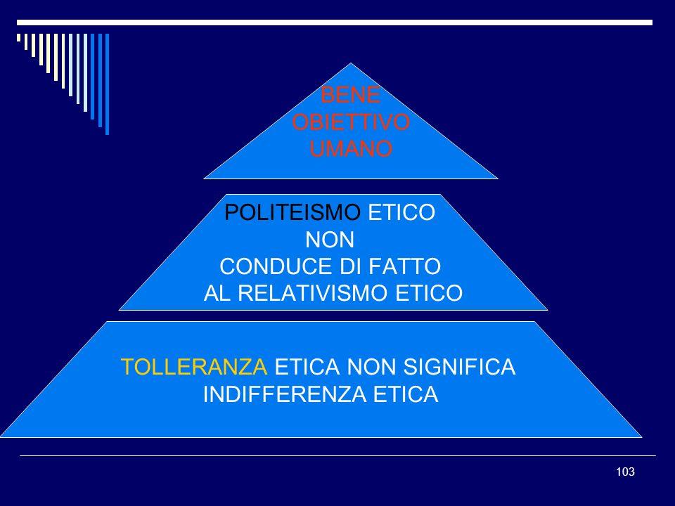 103 BENE OBIETTIVO UMANO POLITEISMO ETICO NON CONDUCE DI FATTO AL RELATIVISMO ETICO TOLLERANZA ETICA NON SIGNIFICA INDIFFERENZA ETICA