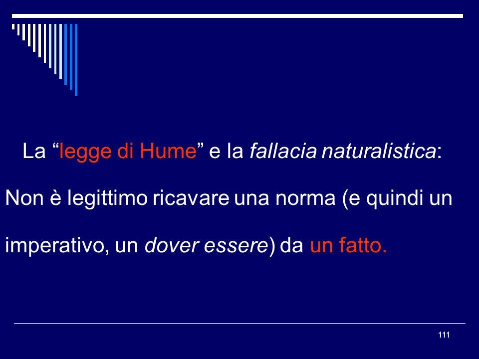 111 La legge di Hume e la fallacia naturalistica: Non è legittimo ricavare una norma (e quindi un imperativo, un dover essere) da un fatto.