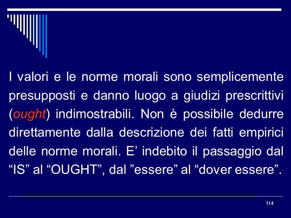 114 I valori e le norme morali sono semplicemente presupposti e danno luogo a giudizi prescrittivi (ought) indimostrabili. Non è possibile dedurre dir