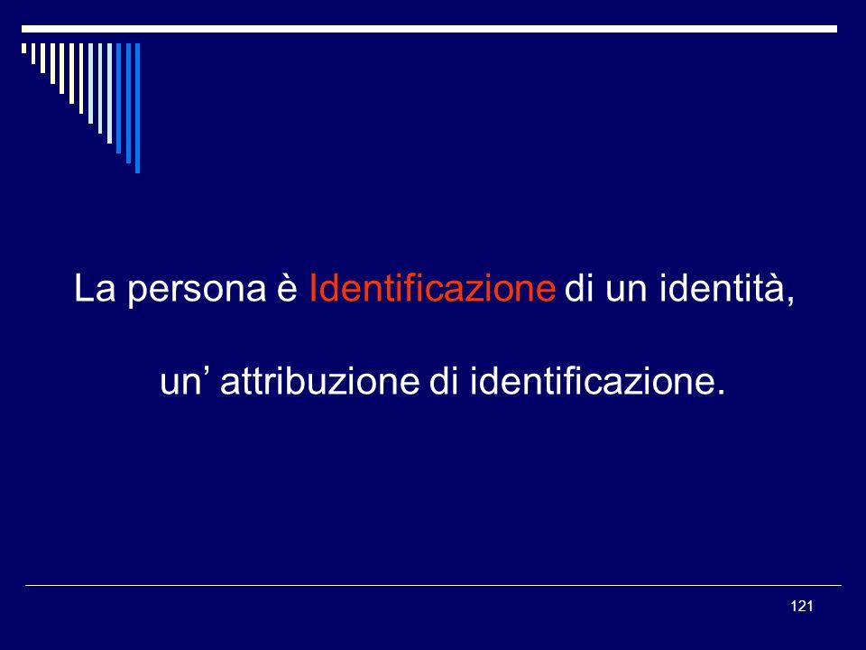 121 La persona è Identificazione di un identità, un attribuzione di identificazione.