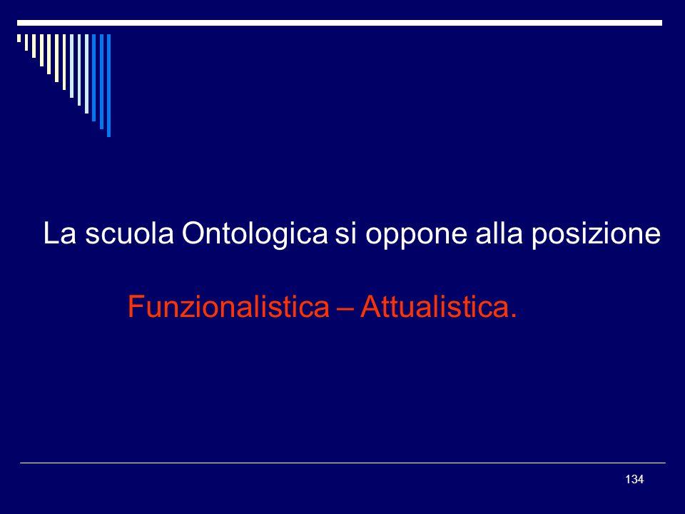 134 La scuola Ontologica si oppone alla posizione Funzionalistica – Attualistica.