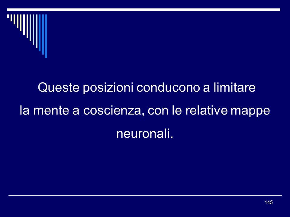 145 Queste posizioni conducono a limitare la mente a coscienza, con le relative mappe neuronali.