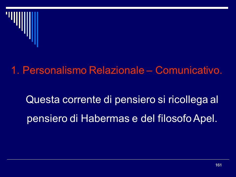 161 1. Personalismo Relazionale – Comunicativo. Questa corrente di pensiero si ricollega al pensiero di Habermas e del filosofo Apel.