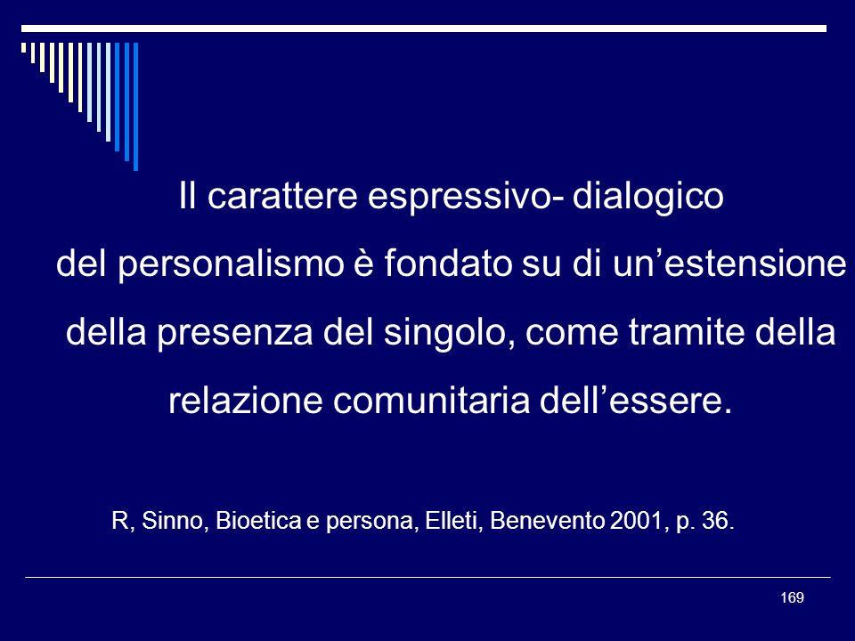 169 Il carattere espressivo- dialogico del personalismo è fondato su di unestensione della presenza del singolo, come tramite della relazione comunita