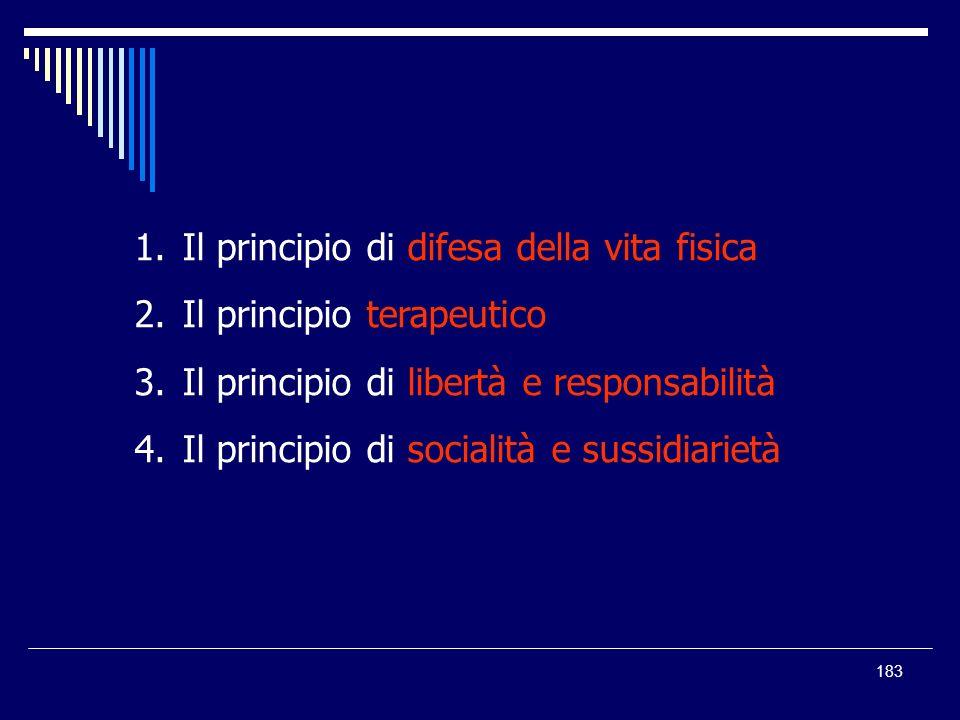 183 1.Il principio di difesa della vita fisica 2.Il principio terapeutico 3.Il principio di libertà e responsabilità 4.Il principio di socialità e sus